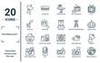 technology linear icon set. includes thin line dish, spotlights, printer tool, photo camera flash, news via satellite, 3d printers, parabolic icons for report, presentation, diagram, web design