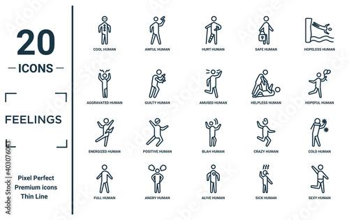 Vászonkép feelings linear icon set
