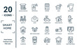 smart.home linear icon set. includes thin line jalousie automation, smart city, chart, illumination, smart home console, autonomous car, home devices icons for report, presentation, diagram, web