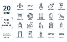 Gym.and.fitness Linear Icon Set. Includes Thin Line Gymnastic Roller, Horizontal Bar, Phytonutrients, Training Apparatus, Fitness Belt, Abdominal Exercises, Protein Shake Icons For Report,