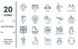 activities linear icon set. includes thin line comic, sing, quilt, jogging, jump rope, petanque, hang out icons for report, presentation, diagram, web design