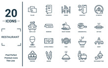 Restaurant Linear Icon Set. Includes Thin Line Pillow, Rent A Car, Wine Glass, Takoyaki, Restaurant Tray, Roast Chicken, Guest Icons For Report, Presentation, Diagram, Web Design