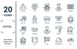hotel linear icon set. includes thin line hot stones, rent a car, ramen, no smoking, pool, double bed, room service icons for report, presentation, diagram, web design