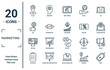 marketing linear icon set. includes thin line place, bid, testing, checklist, price, consumer, offer icons for report, presentation, diagram, web design