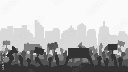 Obraz na plátně Crowd of people protesters in city