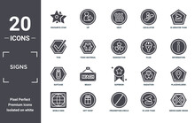 Signs Icon Set. Include Creative Elements As Favourite Star, Is Greater Than, Plug, Superior, Gift Shop, Suitcase Filled Icons Can Be Used For Web Design, Presentation, Report And Diagram