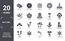 Nature Icon Set. Include Creative Elements As Chestnut, Plant Growing On Book, Eco Socket, Hawthorn, Lily, Clover Filled Icons Can Be Used For Web Design, Presentation, Report And Diagram