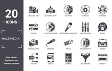 Multimedia Icon Set. Include Creative Elements As Cinema Reel Video Camera, World Wide, Music Controller, Seo Tag, Mailed, Movie Clip Button Filled Icons Can Be Used For Web Design, Presentation,