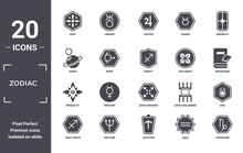 Zodiac Icon Set. Include Creative Elements As Soot, Ingenuity, Affluence, Gods Guidance, Neptune, Inequality Filled Icons Can Be Used For Web Design, Presentation, Report And Diagram