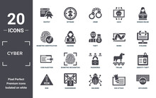 Cyber Icon Set. Include Creative Elements As Rootkit, Woman Online, Worm, Passwords, Ransomware, Code Injection Filled Icons Can Be Used For Web Design, Presentation, Report And Diagram
