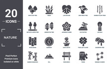 Nature Icon Set. Include Creative Elements As White Ash Tree, Bamboo Plant From Japan, Cultivation, Daisy On Pot, Hill, Wood Board Filled Icons Can Be Used For Web Design, Presentation, Report And