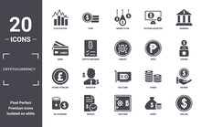 Cryptocurrency Icon Set. Include Creative Elements As Fluctuation, Banking, Peso, Vga Card, Invoice, Pound Sterling Filled Icons Can Be Used For Web Design, Presentation, Report And Diagram