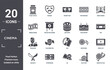 cinema icon set. include creative elements as ticket office, home cinema, film poster, dvd, storyboard, producer filled icons can be used for web design, presentation, report and diagram