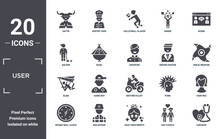 User Icon Set. Include Creative Elements As Satyr, Scene, Groom Avatar, Motorcyclist, Malaysian, Glide Filled Icons Can Be Used For Web Design, Presentation, Report And Diagram