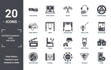 Entertainment.and.arcade Icon Set. Include Creative Elements As Video Editing, Steering Wheel, Voice Acting, Playstation, Foosball, Clapboard Filled Icons Can Be Used For Web Design, Presentation,