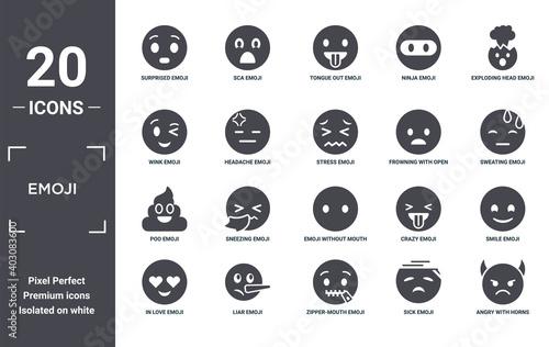 Fototapeta emoji icon set
