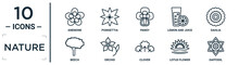 Nature Linear Icon Set. Includes Thin Line Anemone, Pansy, Dahlia, Orchid, Lotus Flower, Daffodil, Beech Icons For Report, Presentation, Diagram, Web Design