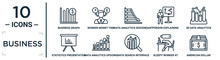 Business Linear Icon Set. Includes Thin Line Business Graph, Data Analytics Descendant Graphic, 3d Data Analytics Bars Graphic, Data Analytics Upgoing Bars Chart, Sleepy Worker At Work, American