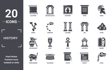 History Icon Set. Include Creative Elements As Old Paper, Greek, Arc, Egypt, Colosseum, Archeologist Filled Icons Can Be Used For Web Design, Presentation, Report And Diagram