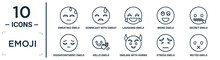 Emoji Linear Icon Set. Includes Thin Line Sweating Emoji, Laughing Emoji, Secret Hello Stress Muted Dissapointment Icons For Report, Presentation, Diagram, Web Design