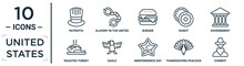 United.states Linear Icon Set. Includes Thin Line Patriotic, Burger, Government, Eagle, Thanksgiving Peacock, Cowboy, Roasted Turkey Icons For Report, Presentation, Diagram, Web Design