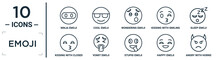 Emoji Linear Icon Set. Includes Thin Line Ninja Emoji, Wondering Emoji, Sleep Vomit Happy Angry With Horns Kissing With Closed Eyes Icons For Report, Presentation, Diagram, Web Design