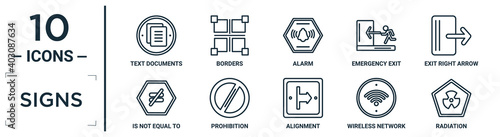 Fotografie, Obraz signs linear icon set