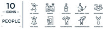 People Linear Icon Set. Includes Thin Line Girl Dancing, Japan Geisha, Speak Bubble, Climbing Sport, Businessman Talking About Yen, Business Tie, King Momo Icons For Report, Presentation, Diagram,
