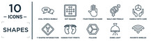 Shapes Linear Icon Set. Includes Thin Line Oval Speech Bubble, Four Finger In Hand, Handle With Care, Human Foot Prints, Dome Light, Favorite Wireles Conecction, Y Shaped Intersection Icons For