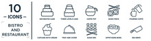 Bistro.and.restaurant Linear Icon Set. Includes Thin Line Decorated Cake, Coffe Pot, Pouring Coffe, Tray And Cover, Appetizers Bowl, Big Knife, Cupcake With Cream Icons For Report, Presentation,