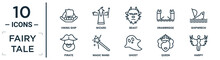 Fairy.tale Linear Icon Set. Includes Thin Line Viking Ship, Beast, Shipwreck, Magic Wand, Queen, Harpy, Pirate Icons For Report, Presentation, Diagram, Web Design