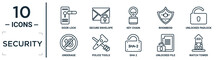 Security Linear Icon Set. Includes Thin Line Door Lock, Key Chain, Unlocked Padlock, Police Tools, Unlocked File, Watch Tower, Underage Icons For Report, Presentation, Diagram, Web Design