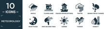 Filled Meteorology Icon Set. Contain Flat Drizzle, Flooded Home, Cracked Ground Between Houses, Twister, Broken Tree By Thunder, Moon Phases, Wind And Bend Trees, Summer, Thunder, Humidity Icons In.