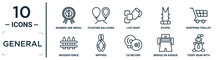General Linear Icon Set. Includes Thin Line Number One Medal, Live Paint, Shopping Trolley, Nippers, Bridge On Avenue Perspective, Teddy Bear With Sleep Hat, Wooden Fence Icons For Report,