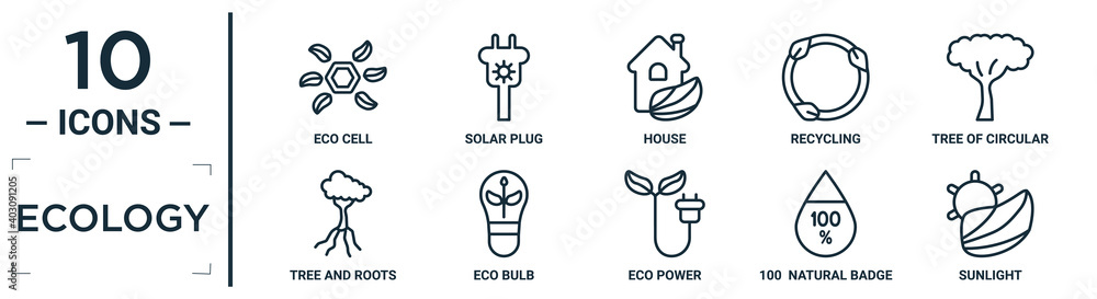 Fototapeta ecology linear icon set. includes thin line eco cell, house, tree of circular foliage, eco bulb, 100  natural badge, sunlight, tree and roots icons for report, presentation, diagram, web design