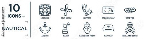 Foto nautical linear icon set