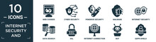 Filled Internet Security And Icon Set. Contain Flat Web Cookies, Cyber Security, Pendrive Security, Malware, Internet Security, Data Search, Ssl, Internet Connection, Bot, Gdpr Shield Icons In.