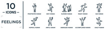 Feelings Linear Icon Set. Includes Thin Line Frustrated Human, Blessed Human, Sad Human, Awful Accomplished Crazy Hopeful Icons For Report, Presentation, Diagram, Web Design