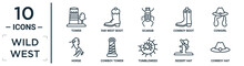 Wild.west Linear Icon Set. Includes Thin Line Tower, Scarab, Cowgirl, Cowboy Tower, Desert Hat, Cowboy Hat, Horse Icons For Report, Presentation, Diagram, Web Design