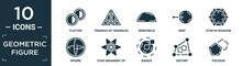 Filled Geometric Figure Icon Set. Contain Flat Flatten, Triangle Of Triangles, Semicircle, Sent, Star In Hexagon Of Small Triangles, Sphere, Star Ornament Of Small Triangles, Radius, Distort,.