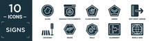 Filled Signs Icon Set. Contain Flat Align, Radioactive Elements, Class Reward, Under, Exit Right Arrow, Crossing, Snake, Male, Alignment, World Grid Icons In Editable Format..
