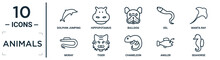Animals Linear Icon Set. Includes Thin Line Dolphin Jumping, Bulldog, Manta Ray, Tiger, Angler, Seahorse, Moray Icons For Report, Presentation, Diagram, Web Design