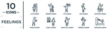 Feelings Linear Icon Set. Includes Thin Line Lazy Human, Hot Human, Satisfied Human, Lonely Terrible Hopeless Rough Icons For Report, Presentation, Diagram, Web Design