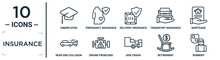 Insurance Linear Icon Set. Includes Thin Line Unemployed, Delivery Insurance, Mortgage, Engine Problems, Retirement, Robbery, Rear End Collision Icons For Report, Presentation, Diagram, Web Design