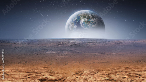 Obraz Earth planet in the sky over desert and stones. View on planet from Mars surface. Abstract sci-fi wallpaper. Elements of this image furnished by NASA - fototapety do salonu