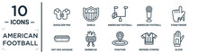 American.football Linear Icon Set. Includes Thin Line Shoulder Pad, American Football Annotation, Foam Finger, Barbecue, Referee Striped Sportive T Shirt, Glove, Hot Dog Sausage In Bread Icons For