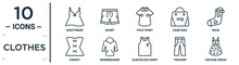 Clothes Linear Icon Set. Includes Thin Line Nightwear, Polo Shirt, Sock, Windbreaker, Trouser, Vintage Dress, Corset Icons For Report, Presentation, Diagram, Web Design