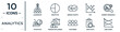 analytics linear icon set. includes thin line leadership, merge charts, market research, person explaining strategy, bar stats, line chart, statistics icons for report, presentation, diagram, web