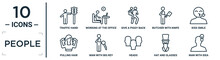 People Linear Icon Set. Includes Thin Line Traffic Hand, Give A Piggy Back Ride, Kiss Smile, Man With Big Key, Hat And Glasses, Man With Idea, Pulling Hair Icons For Report, Presentation, Diagram,