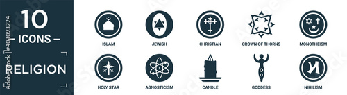 Fotografia filled religion icon set